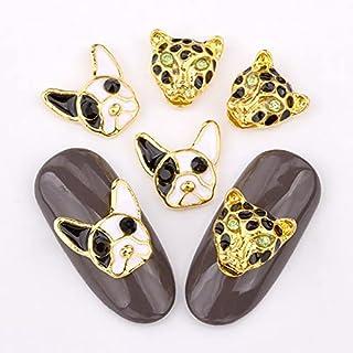 100 stks 3d spijker ornamenten hond hoofd luipaard hoofd charm drop effect ontwerp, goud DIY nagelaccessoires
