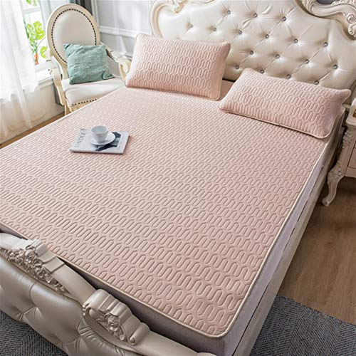 LiuliuBull W Double fitted sheet Summer Cooling Bed Mat Ice Silk Cooling Mattress Printing Foldable Soft Bedding Sets Sleep Pillowcase Bed Protector Mats (Color : 20, Size : 200x220cm 3pcs)