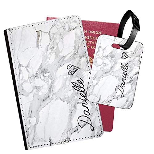 Personalised Marble PU Leather Passport Holder Travel Wallet & Luggage Tag Set - 06