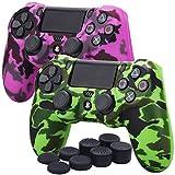 YoRHa Camuffamento di stampa di trasferimento dell'acqua Cassa pelle copertura silicone skin cover Custodia per Sony PS4/Slim/Pro Controller x 2(verde + rosa scuro) Con PRO thumb grips x 8