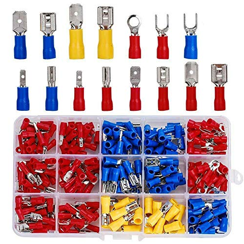 280 PCS Insulated Wire Electrical Connectors Assortment - Fork, Ring, Spade, Quick Disconnect - Crimp Marine Automotive Cable Terminals