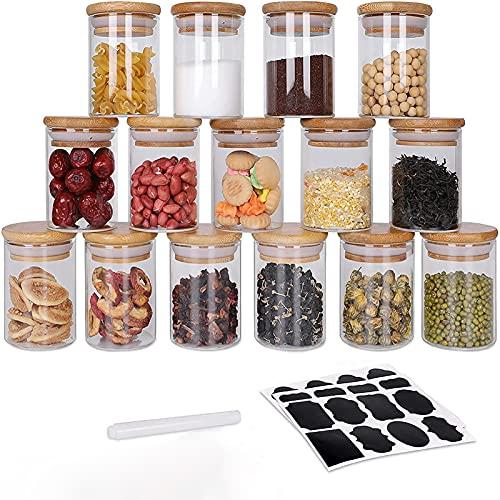 GoMaihe 100ML Tarro de Vidrio de Almacenamiento 15Pcs, Tarros de Cristal para Conservas Envases Cristal Alimentos, Tarro de Granos de Café Recipiente Hermetico Tarros de Cristal con Tapa