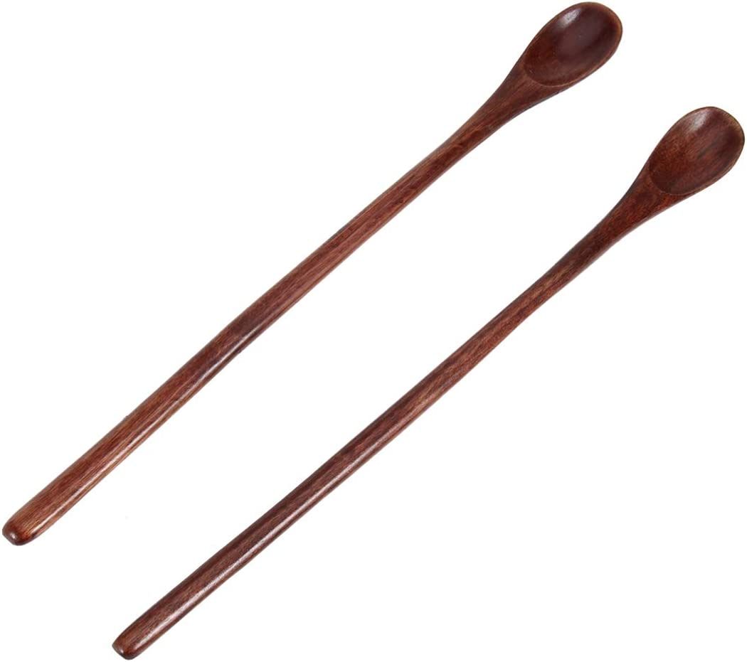 Cabilock 2pcs Long Handle Wooden Iced Inexpensive Tea Teaspoons [Alternative dealer] Spoon Coffee