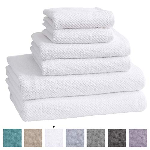 100% Cotton Bath Towels, Luxury 6 Piece Set - 2 Bath Towels, 2 Hand Towels and 2 Washcloths. Quick-Dry, Absorbent Textured Popcorn Weave Towels. Acacia Collection (6 Piece Set, Optic White)