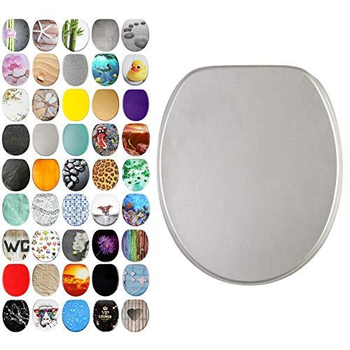 WC Sitz, viele schöne WC Sitze zur Auswahl, hochwertige und stabile Qualität aus Holz (Glitzer Silber)