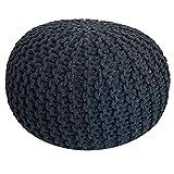 casamia Strickhocker Pouf Ø 55 cm Sitzpouf Sitzpuff Bodenkissen Grobstrick-Optik extrahoch Höhe 37 cm (Black & White - Sonderfarbe)