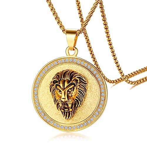 Cupimatch Gold Plated Circle of Rhinestone Crystal Lion Head Medallion Round Pendant Necklace Chain, Mens Stainless Steel Gothic 24' Link Charm Necklace