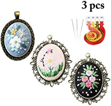 Beginner Embroidery Kit, Outgeek 3PCS Embroidery Starter Kit Set Embroidered Stitching Pendants Hand Sewing Necklace Earrings Pendants Floral Plate Jewelry Necklace for Art Crafts Sewing and Hanging