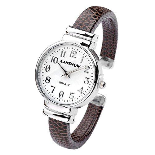 JSDDE Fashion Women's Bangle Cuff Bracelet Analog Watch - Coffee