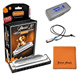 Hohner Special 20 Harmonica, 10 Holes Major C Bundle with Hard Case, Mini Harmonica Necklace and Juliet Music Polishing Cloth (C Bundle)
