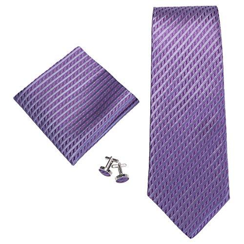 Landisun Ensemble cravate résistant pour homme - Violet - petit