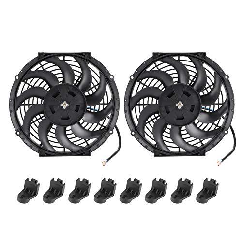 WNSC Ventilador de enfriamiento, Ventilador de enfriamiento de 12 Pulgadas, Ventilador de enfriamiento de automóvil Negro de 2 Piezas para automóvil con Sistema de Motor doméstico