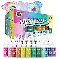 36本 244アイテム 絞り染め パーティーキット: Rainbow Classicは、12色の鮮やかな色を使用した究極のキットです。簡単に握れるボトル、ネクタイ、染料技術ガイドで無限のDIYが可能に。