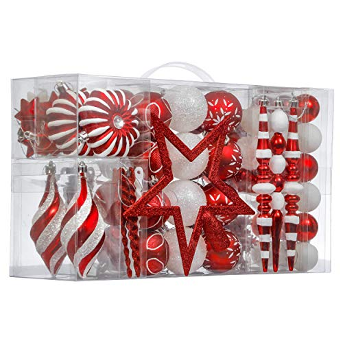 Valery Madelyn 100ct Traditional Shatterproof Christmas Ball Ornaments Red and White with Tree Topper, Christmas Tree Ornaments Decorations Assorted Bulk, Themed with Tree Skirt (Not Included)