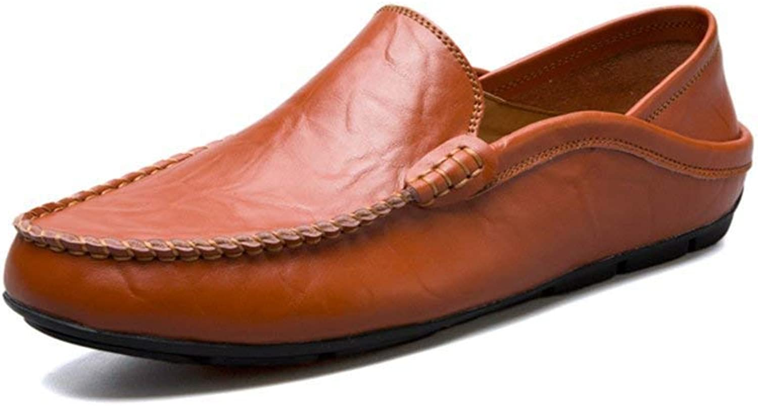 Oudan Men's Moccasins shoes, Mens Flat Heel Fashion Loafer Slip-on Casual shoes Moccasins (color  Yello Brown, Size  45 EU) (color   Red Brown, Size   47 EU)