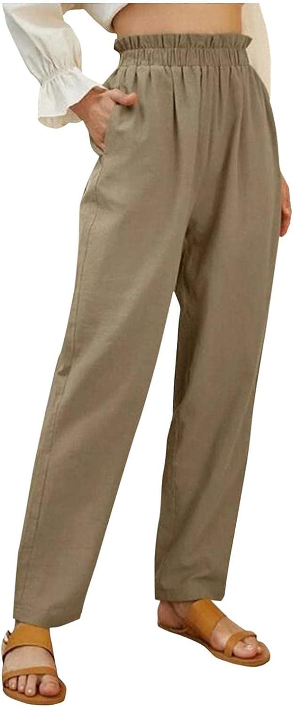 WUAI-Women Casual Baggy Wide Leg Linen Pants Cozy Slouchy Loose Comfy Travel Pajamas Lounge Yoga Pants with Pockets