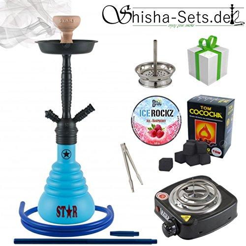 Shisha-Set mit Shisha 4-Stars 410D, Kohleanzünder, Dampfsteine, Naturkohle, Kaminaufsatz und eine kleine Überraschung (410D Blau/Schwarz-Matt)