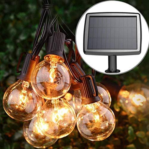 Guirnalda de luces solares para jardín, 20 bombillas LED, panel solar recargable, resistente al agua, para interior y exterior, lámpara decorativa de jardín para Yard Terrace Patio Xmas (luz cálida)
