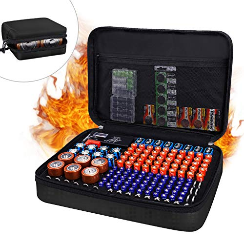 JUNDUN Battery Organizer,Fireproof Waterproof Hard Battery Storage Case,Silicone Battery Storage Box Holder,Hold 148 Batteries for AA AAA C D 9V with Tester BT-168 (Not Included Batteries)