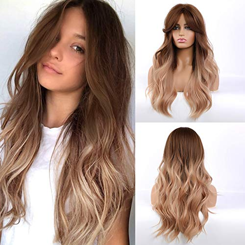 Long Brown Blonde Ombre Synthetic Wigs with Bangs Layered Wavy Heat Resistant Hair Cosplay Daily Wig for White Black Women