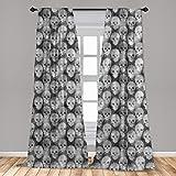 Ambesonne Skull 2 Panel Curtain Set, Knitting Chevron Texture with Brainpan Head Bone Ghostly Creepy Pattern Image, Lightweight Window Treatment Living Room Bedroom Decor, 56' x 84', Charcoal Black