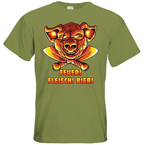 getshirts - Rahmenlos® Geschenke - T-Shirt - BBQ - Feuer Fleisch Bier - Grill Design - Green Moss M