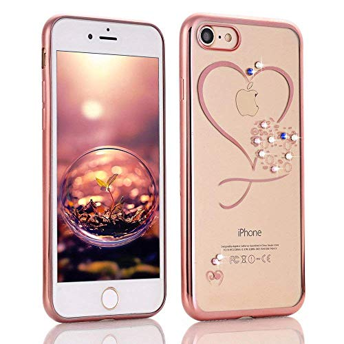 for iPhone 7/8 Case iPhone SE2020 Case LAPOPNUT Love Heart Glitter Case Bling Crystal Rhinestone Diamonds Plating Frame Transparent Flexible TPU Silicone Bumper Case Cover, Rose Gold