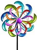 dekojohnson - Girandola da giardino, in metallo, a vento, doppia lilla/blu/rosso/verde, 12...