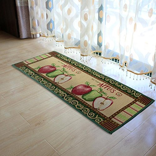 yazi Fabric Kitchen Mat Area Rug Fresh Picked Apples Non-Slip Rubber Backing Floomat,47x18 Inches