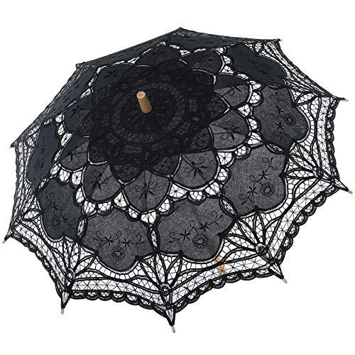 Coucoland Spitzenschirm Braut Brautjungfer Vintage Hochzeitsschirm Spitzen Deko Sonnenschirm Fotografie Prop Lace Umbrella Damen Fasching Kostüm Accessoires (Schwarz)