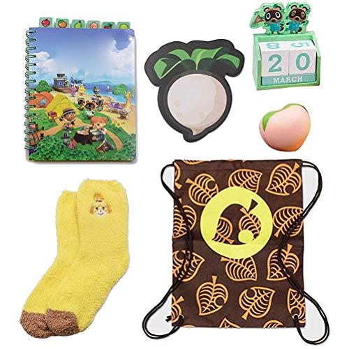 FUSTMS Neueste Tier-Kreuzung, New Horizons Sammlerbox, Notizbuch, Blanko-Kit, Lieblingsspielzeug für Kinder, New Horizons Sammlerbox, inklusive Decke, Notizbuch, Kalender, Pfirsichsocken