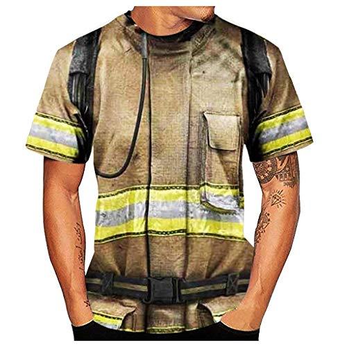 DNOQN Herren Kurzarm Bluse Casual 3D Feuerwehrmann Style Print O-Neck Top T-Shirt