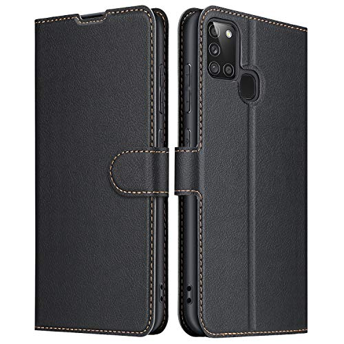 ELESNOW Hülle für Samsung Galaxy A21s, Leder Klappbar Wallet Schutzhülle Tasche Handyhülle mit [ Magnetisch, Kartenfach, Standfunktion ] für Samsung Galaxy A21s (Schwarz)