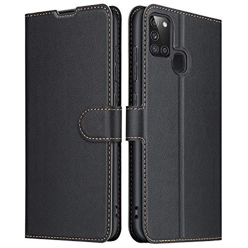 ELESNOW Funda Samsung Galaxy A21s, Cuero Premium Flip Folio Carcasa Case para Galaxy A21s (Negro)