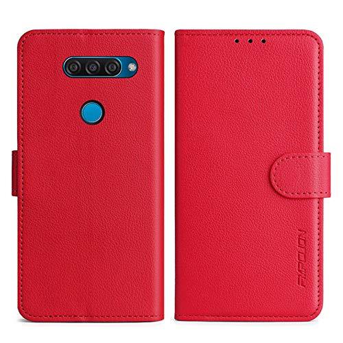 FMPCUON Handyhülle Kompatibel mit LG Q50/LG Q60 Hülle Leder PU Leder Tasche,Flip Hülle Lederhülle Handyhülle Etui Handytasche Schutzhülle für LG Q50/LG Q60,Rot