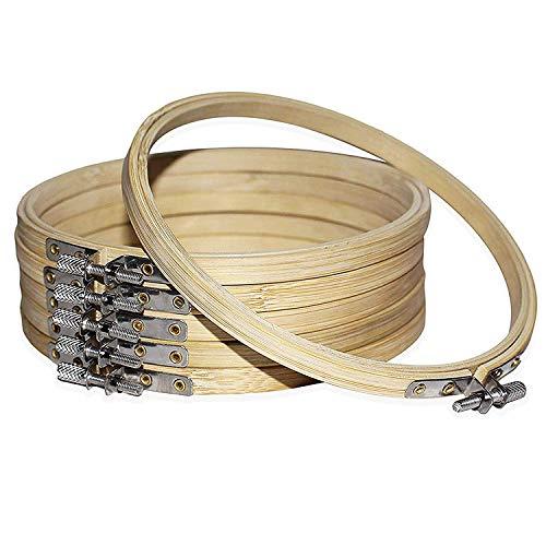 Telai da Ricamo 6 Pezzi - Telaio Punto Croce in Legno di bambù da 15 cm-Telai Regolabili con Cornici Circolari-Anelli Rotondi per Fai da Te Arte e Artigianato, Cucito Tessuto (6 PCS)