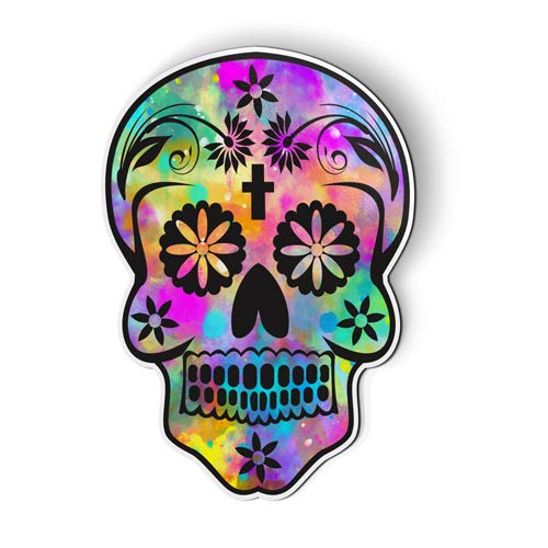 AK Wall Art Sugar Skull Colorful - Magnet - Car Fridge Locker - Select Size
