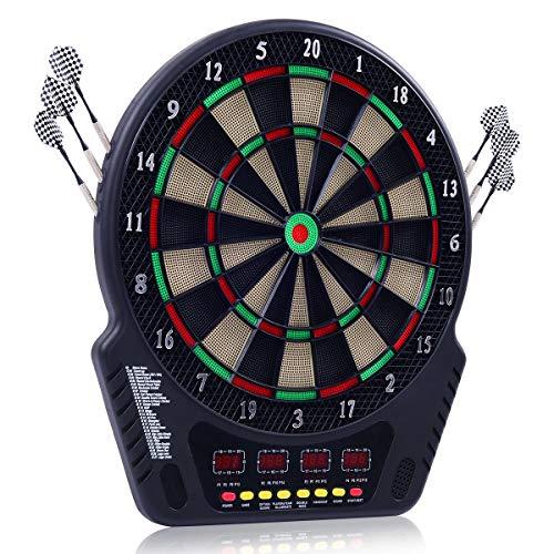 COSTWAY Dartautomat mit 27 Spiele und 243 Variationen, Dartscheibe elektronisch, Dartboard mit LED Displays, Turnierscheibe inkl. 6 Dartpfeile und 24 Ersatzsspitzen, geeignet für 1-16 Spieler