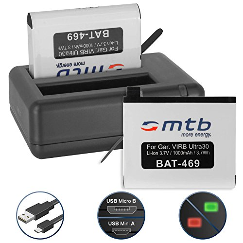 2 Akkus + Dual-Ladegerät (USB) für Garmin Virb Ultra 30 Action Cam [1000 mAh / 3.7V / Li-Ion] - inkl. Micro-USB-Kabel