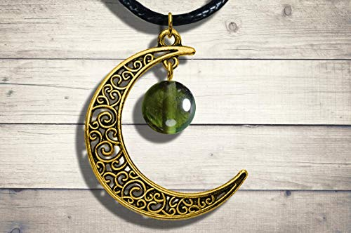 Moldavite Bronze Celtic Crescent Moon Pendant Jewelry Necklace, 10MM- Green Tektite Necklace with Certificate of Authenticity