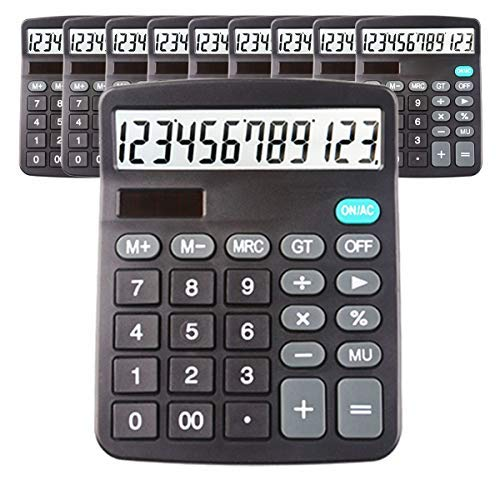 10 Pack Calculators Large Display for Desk, Big Button Basic 12 Digit Desktop Office Calculator(Black) Solar Calculator and AA Battery (Included)