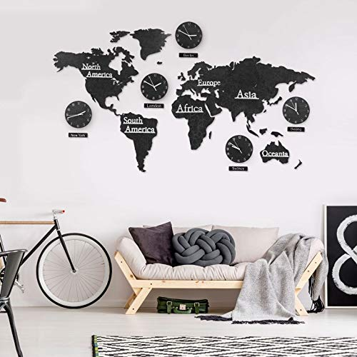 3D Holz Weltkarte mit Uhren Set - Schwarz 190x120 cm MDF Weltzeituhren Weltuhren Wanduhren Schilder Kontinente Länder Wand Deko Wall-Art