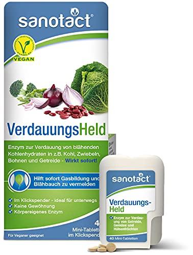 sanotact VerdauungsHeld • 40 Mini-Tabletten • Hilft bei Verdauung von Getreide, Kohl & Hülsenfrüchten • Reizdarm Tabletten verdauungsfördernd bei Blähbauch