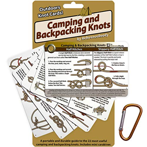 ReferenceReady Outdoor Knots - Knot Tying Cards with Mini Carabiner