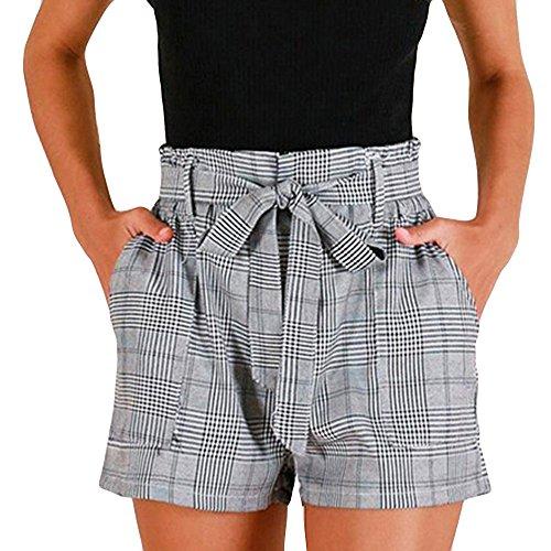 FRAUIT Damen Karierte Streifen Shorts Lose Hot Pants Sommer Strand Shorts Hose Sommer Hotpants Bermudas Ultra Jeans Leggings Strand Yoga der Sporthosen Schlafanzughosen - Streifen
