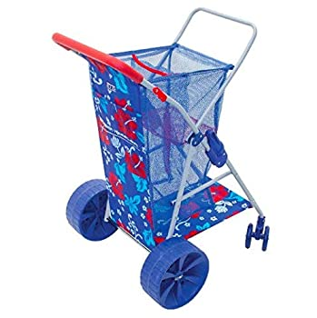 Rio Wonder Wheeler Folding Beach Cart   New 2020 Design Hawaiian Print   Blue with Red Accent Print   Holds 4 Beach Chairs   Lighter Weight Than Prior Versions  Polyester
