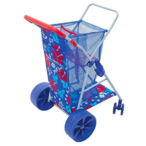 Rio Wonder Wheeler Folding Beach Cart | New 2020 Design Hawaiian Print | Blue with Red Accent Print | Holds 4 Beach Chairs | Lighter Weight Than Prior Versions