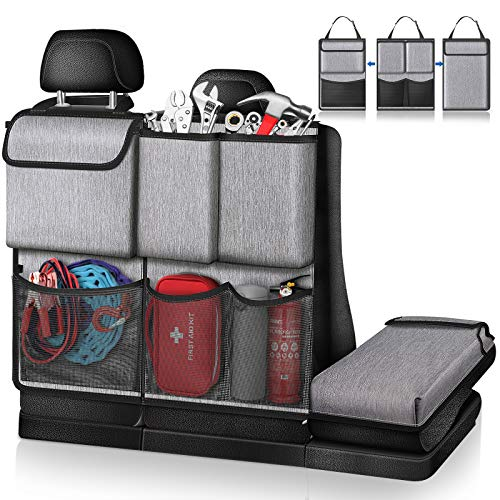 FINPAC Car Trunk Organizer Detachable Seat Back Hanging Organizers Storage with Zippers Large Capacity Car Accessories Interior for Jeeps SUVs Vans