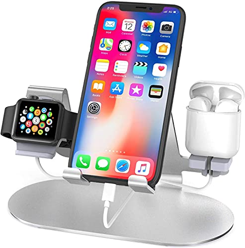 Soporte 3 en 1 de aluminio para teléfono móvil, cargador para Apple Watch, compatible con iWatch 6 / SE / 5/4/3/2, AirPods Pro y iPhone 12 Pro / 11 /Xs / X Max / XR / X / 8 / 8P (plata)