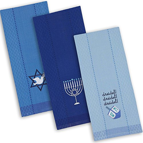 DII Cotton Hanukkah Holiday Dish Towels, 18x28' Set of 3, Decorative Oversized Kitchen Towels, Perfect Home and Kitchen Gift